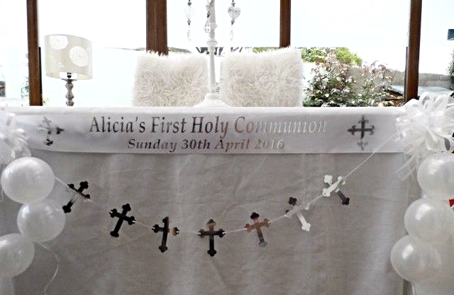 First Communion Table Decoration White Silver
